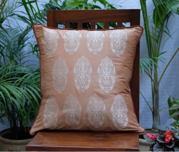 "LIGHT BROWN WITH BEIGE ALPANA EMBROIDERED CUSHION COVER (SET OF 2) (20""X20"")"