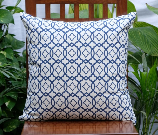 "MOROCCAN NAVY COTTON CUSHION COVER (20""x20"")"