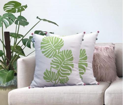 """Cream Tropical Leaf Printed Cotton Cushion Cover (16""""x16"""")"""