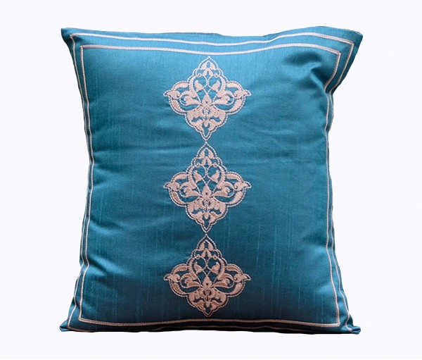 """Teal Embroidered Polydupion Cushion Cover 15.5""""x15.5"""""""