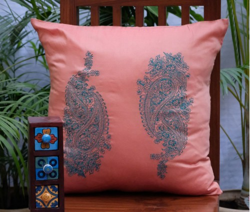 """Peach Paisley Embroidered Cushion Cover (18""""x18"""")"""