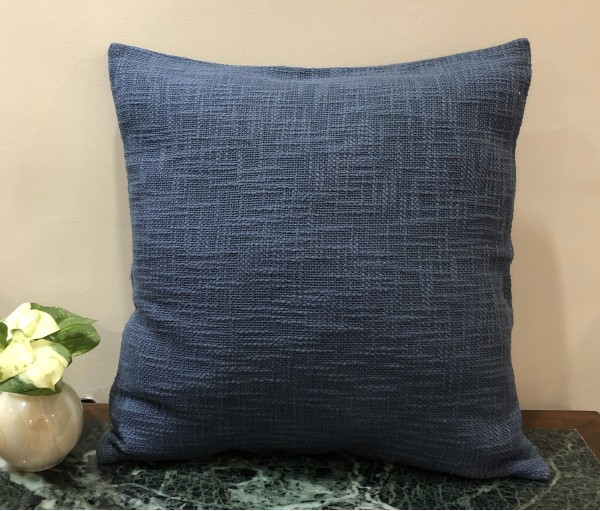 "Textured Blue Solid Cushion Cover (20""x20"")"