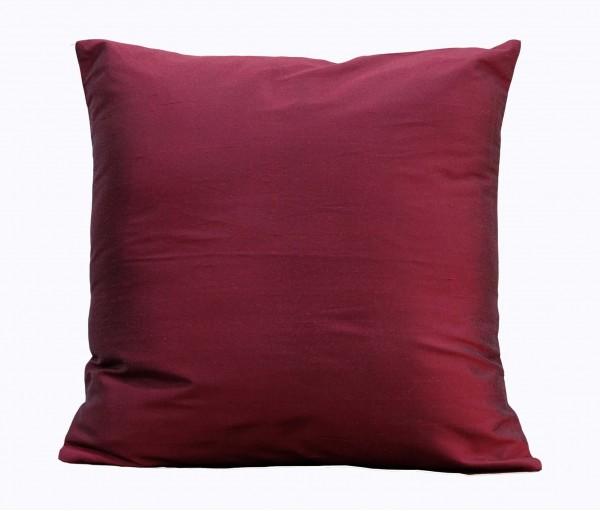 "Solid Dark Maroon Silk Blend Cushion Cover 16""x16"""
