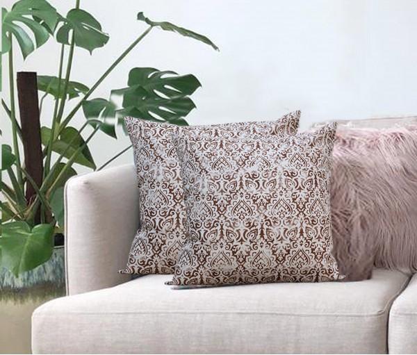 "Cream Distress Ornamental Cotton Cushion Cover (16""x16"")"