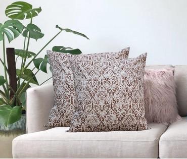"Cream Distress Ornamental Cotton Cushion Cover (18""x18"")"