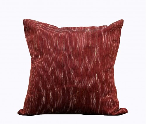 """Maroon Jute Kantha Cotton Cushion Cover 14""""x14"""""""