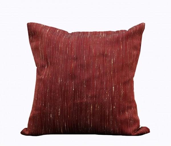 """Maroon Jute Kantha Cotton Cushion Cover 11.5""""x11.5"""""""