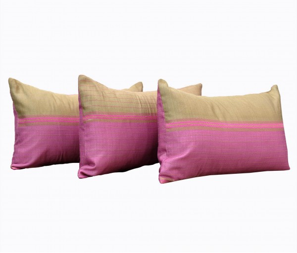 "Set of 3 Pink Kantha Cushion Cover 12""x18"""