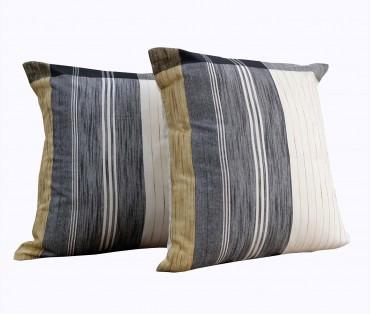 "Set of 2 Cream Black Stripe Handwoven Cotton Cushion Cover 19.5""x19.5"""