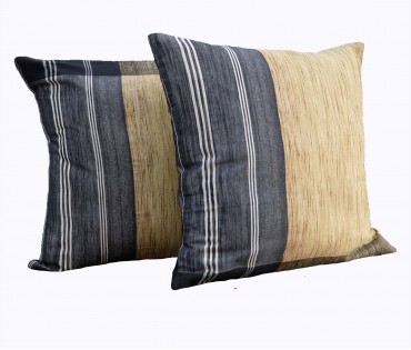 "Set of 2 Beige Black Stripe Handwoven Cotton Cushion Cover 19.5""x19.5"""