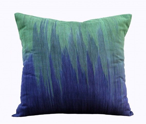 "Blue & Green Handwoven Ikat Cotton Cushion Cover 19.5""x19.5"""