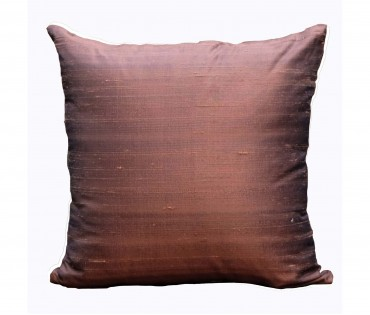 """Solid Dark Brown Poly Dupion Cushion Cover 16""""x16"""""""
