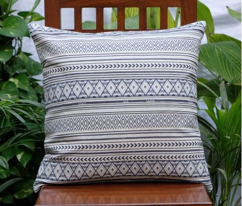 "Geometric Cream & Blue Jacquard Cushion Cover (20""x20"")"