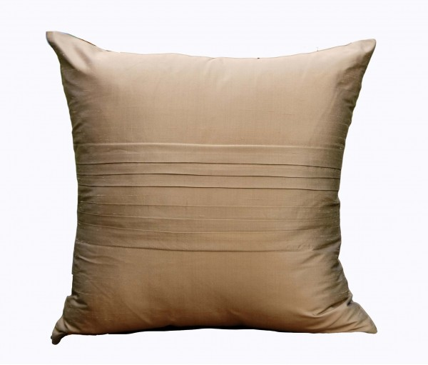 """Solid Light Brown Silk Dupion Cushion Cover 19.5""""x19.5"""""""