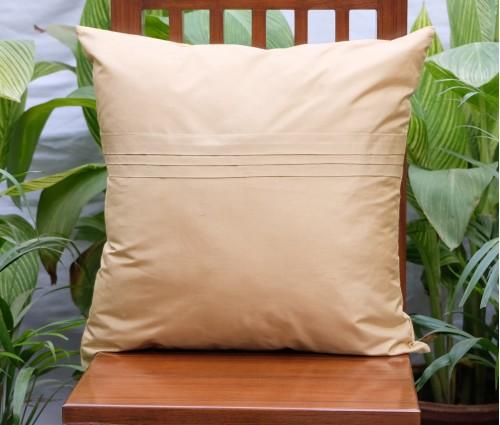 "Solid Beige Silk Blend Cushion Cover 20""x20"""