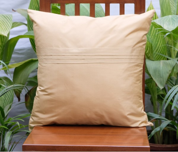 "BEIGE SILK BLEND PLAIN CUSHION COVER (20""X20"")"