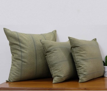 """Set of 3 Cotton Brocade Cushion Cover (1pc in 19.5""""X19.5"""" & 2pcs in 15.5""""X15.5"""")"""