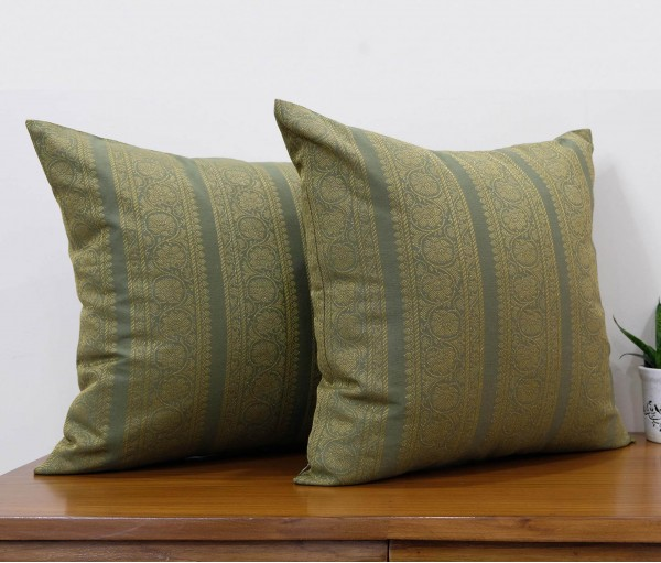 """Set of 2 Cotton Brocade Cushion Cover 20""""X20"""""""