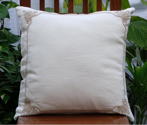 RAJWARAH CREAM HAND EMBROIDERED LINEN CUSHION COVER (50cmX50cm)