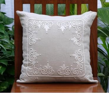 "Rajwarah Beige Hand Embroidered Linen Cushion Cover (16""x16"")"