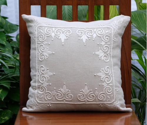 "Rajwarah Beige Hand Embroidered Linen Cushion Cover (16""x16"")"