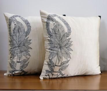 Hand Painted Madhubani Silk Blend Cushion Cover (40x40cm) (set Of 2)