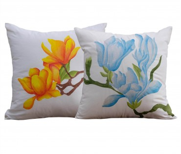 """Set of 2 Floral Hand Painted Cotton Cushion Cover 16""""x16"""""""