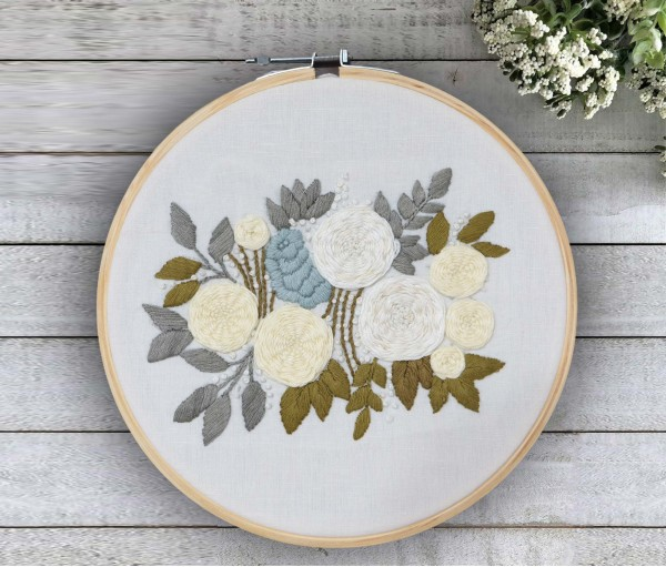 Floral Hand Embroidered Hoop Wall Hanging  (Dia-10in)