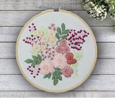 Floral Hand Embroidered Hoop Wall Hanging  (Dia-8in)