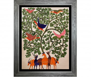 Gond Painting on Canvas |  31x37 Inch