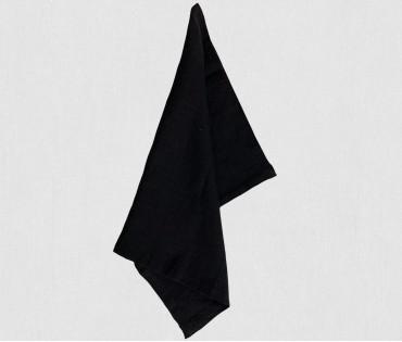 Solid Black Pure Linen Kitchen Napkin