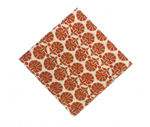 Red Block Printed Cotton Flax Kitchen Napkin