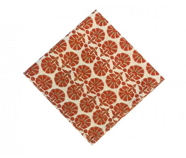 Red Block Printed Cotton Flax Kitchen Napkin