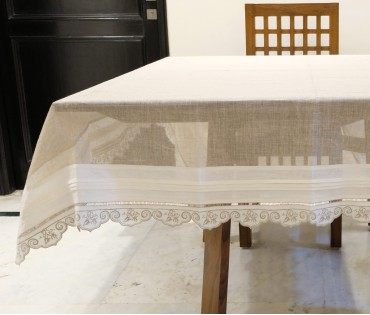 Light Grey Cotton Linen Gauze Table Cloth 6 Seater