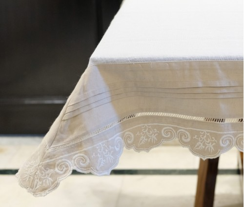 Cream Cotton Linen Gauze Table Cloth 4 Seater