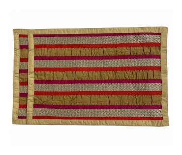 Set Of 2 Embroidered Stripe Lurex Table Mat
