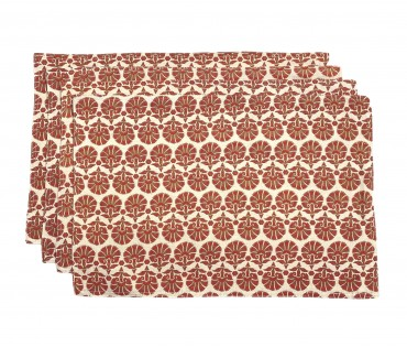 Set Of 4 Red Block Printed Cotton Flax Table Mat