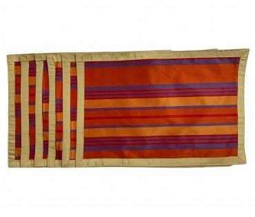 Set Of 6 Multicolor Tafeta Stripe Table Mat