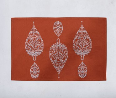 Dew Drop Burnt Orange Cotton Embroidered Table Mat (single Pc)