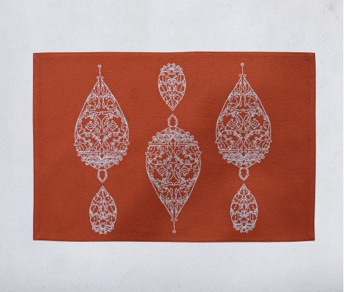 Dew Drop Burnt Orange Cotton Embroidered Table Mat (single Pc)