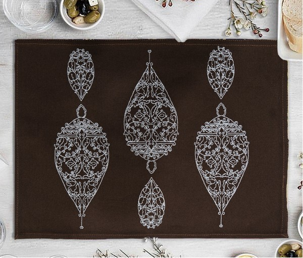 Dew Drop Dark Brown Embroidered Cotton Table Mat (single Pc)