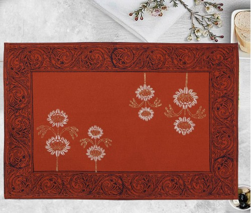 Gulnaaz Burnt Orange Hand Block Printed Cotton Table Mat (single Pc)