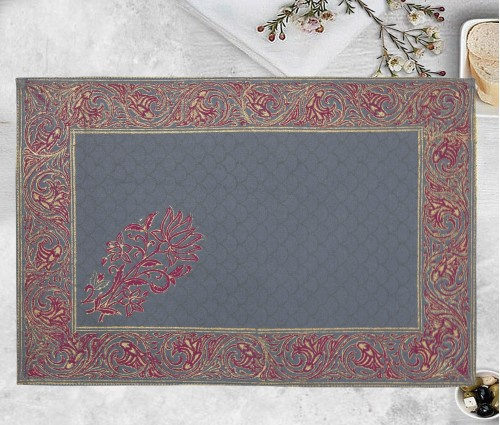 Gulnaaz Light Grey Hand Block Printed Cotton Table Mat (single Pc)