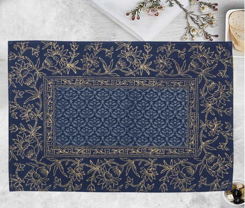 Gulnaaz Navy Hand Block Printed Cotton Table Mat (single Pc)