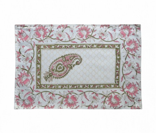 Gulnaaz Cream Hand Block Printed Matka Cotton Table Mat (Single Pc)
