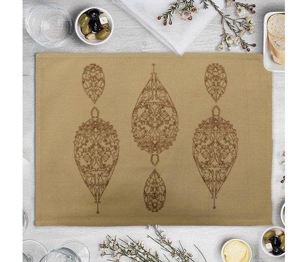Dew Drop Beige Embroidered Cotton Table Mat (single Pc)