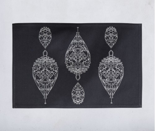 Dew Drop Dark Grey Embroidered Cotton Table Mat (single Pc)