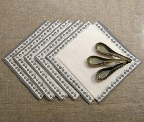 Dark Grey & White Table Napkin (set Of 6)
