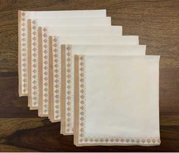 Cream & Beige Printed Cotton Table Napkin (set Of 6)
