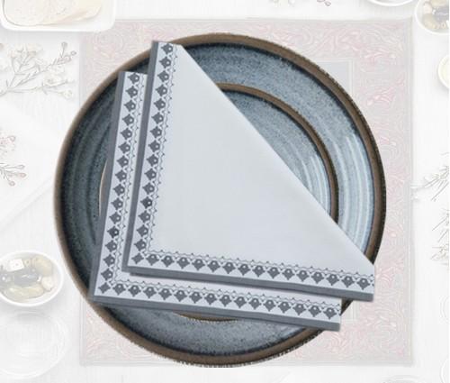 White & Dark Grey Emperor Printed Cotton Table Napkin (Set of 4)